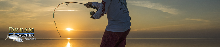 fishing rod bends at sunset